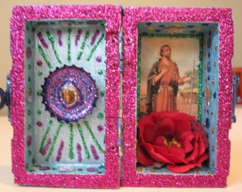 St. Isidore mini nicho, altar, folk art, Santeria, Voodoo shrine, Catholic saint