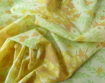 "50% OFF FABRIC SALE! Vintage Fabric - Yellow and Orange Sheer Floral - 3 3/4 yds x 46"" wide"