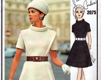1960s Mod Space Age Dress Pattern - Vintage Vogue Designer 2075 - Bust 34 Pierre Cardin UNCUT FF