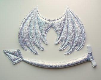 Dragon Wings and Tail SET, Iridescent White and Silver Reflective Sparkle Metallic, wire free, ice dragon costume cosplay, Halloween costume