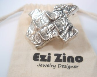 Genuine Ezi Zino silver Texture  Alligator Belt Buckles solid sterling silver 925