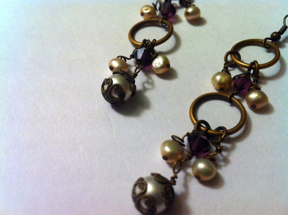 """Long Bronze Earrings, Boho Earrings with Natural Ceam Pearls and Amethyst Crystals, 3"""" Length"""