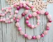 Knotted Natural Stones: Rose Quartz, Pink Agate and Jade Necklace