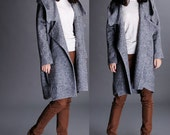 Dark grey wool hooded coat