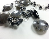 Gray Agate Necklace, Sterling Silver Chain Wire Wrapped Hematite, Moss Agate Necklace