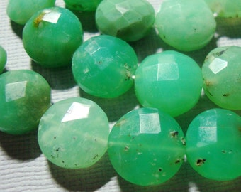 Natural Chrysoprase Gemstone Faceted Coin Beads, 9-10mm, 1/2 strand, 20 Beads - 28% off sale