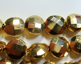 12 pcs, 7-8mm, Sparkling Gold Pyrite Faceted Coin Bead