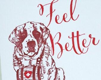 SALE - Letterpress Get Well Soon card - St. Bernard - 60% off