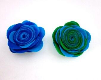 Green & Blue Flower Pin -- Felt Flower Pin -- Blue Flower Brooch -- Felt Pin -- Large Felt Flower -- Two Tone Pin -- Blue or Green Pin