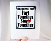 Funny Husband Valentine Card. Anniversary Cards. Funny Card for Couples Valentine. Fart Card. Funny Guys Valentine. MT046