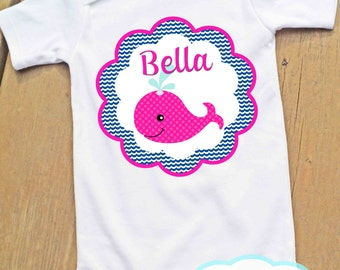 Pink Whale Nautical Bodysuit or Tshirt - Personalized - Short or Long Sleeve