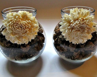 Rustic Votive Holder - Glass Globe Candle Holder - Fall, Autumn, Winter Home Decor