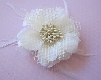 Cream Flower with Feathers and Netting-SALE 50% off