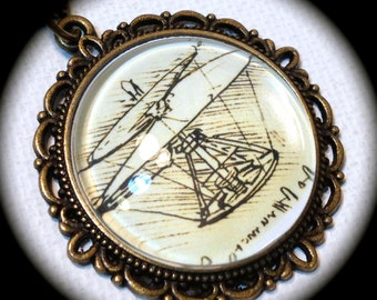 HELICOPTER . Glass Pendant Necklace . ART . Leonardo da VINCI . GirlGameGeek