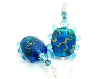 Blue Earrings, Lampwork Earrings, Glass Art Earrings, Beadwork Earrings, Unique Earrings, Glass Bead Jewelry, Funky Earrings, Abstract