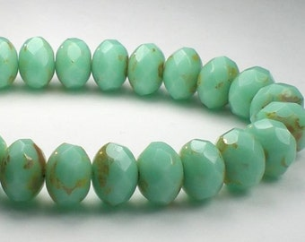 Green Mint Turquoise Picasso Czech Glass Beads 6 x 8mm Faceted Rondelle Beads 10 Pcs. RON8-049