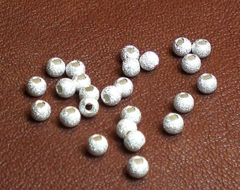 3mm Stardust Bead Spacer Beads Sterling Silver Beads S-139