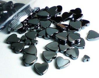 Hematite Heart Bead Mix 2 Sizes Non-Magnetic 100 Beads