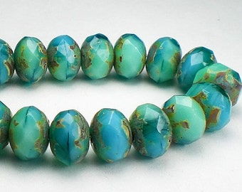 Sky Blue and Mint Green Picasso Czech Glass Beads 6 x 8mm Faceted Rondelles 10 Pcs. 590