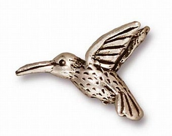 Blackened Pewter, Fine Silver, Brass Oxide or Copper Finish Humming Bird Beads Your Choice! 4 pcs. 94-5518