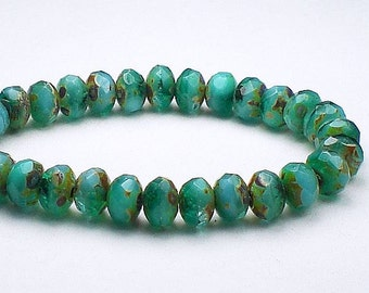 Faceted Picasso Czech Glass Beads 3 x 5mm Sky Blue and Emerald Green Rondelles Amber Picasso 30 Pieces 3x5 RON5-386