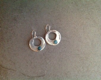 Fine Silver PMC and Turquoise Earrings