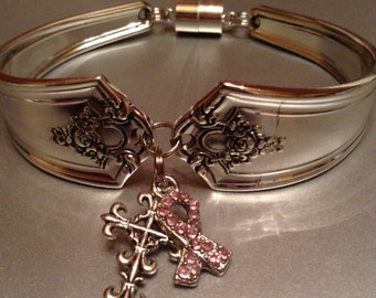 Bracelet, Breast Cancer Awareness Bracelet, Spoon Bracelet, Silver Bracelet, Wrist Wear, Silver Spoon Bracelet, Charm Bracelet, pink ribbon,