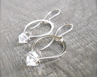 Sterling Silver Herkimer Diamond Hoops