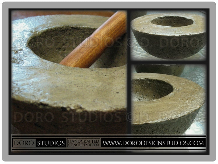 Hand Carved Cement : Handcrafted concrete mortar and hand carved hardwood pestle