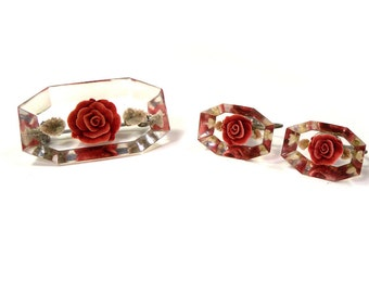 Vintage 1950's Lucite Red Rose Flower  Earrings and Pin // Brooch Set