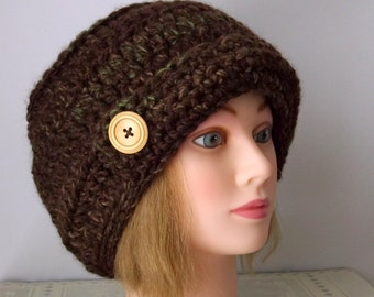 Urban Hat,Rustic Crochet Knit Urban Hat ,A Rustic Mesquite Colored, Warm Chunky Yarn, Ready to Ship