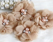 NEW: 4 pcs Aubrey TAN Camel Brown  - Soft Chiffon with pearls and rhinestones Mesh Layered Small Fabric Flowers, Hair accessories