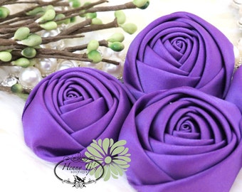 Sierra: 4pcs WILD VIOLET / Purple - 50mm Adorable Rolled Satin Rose Bud Rosettes Fabric flowers. Hair Accessories. Satin Rose Flowers