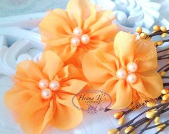 NEW: 4 pcs Lavinia NEON ORANGE Soft Chiffon and Tulle w/ pearls Ruffled Fabric Flowers, Hair accessories. Headband Flowers. Scrapbooking.