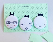 Hand embroidered little faces badges set
