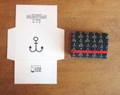 Blue Navy Cardholder hand silk screen printed fabric