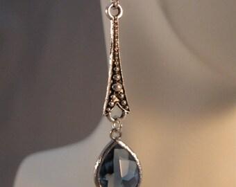 Blue Bezel drop Earrings, bezel earrings, dangle earrings, blue earrings, filigree earrings, earrings, earrings, silver earrings