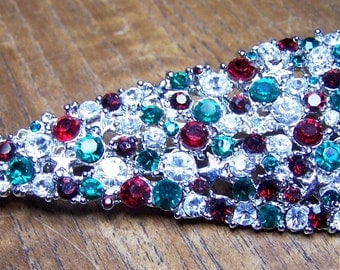 Christmas Tree Brooch Red, Green, Clear Rhinestones Unsigned