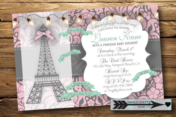 delicate paris themed baby shower invitation digital or printed