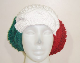 Italian Flag Hat Beanie Beret Italy italian gifts for womens hat red white green hand knit
