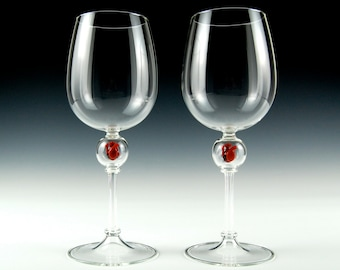 Anatomical Heart Wine Goblets, hand blown glass