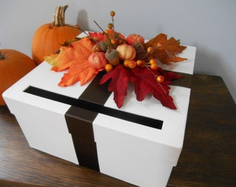 Autumn Wedding Card Box Chocolate Brown Ribbon and Autumn Leaves Pumpkins Orange Gold Red You Customize