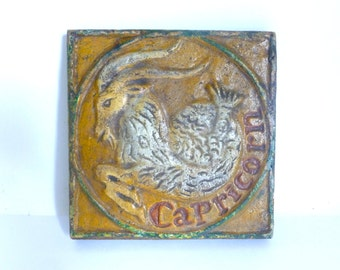Vintage 1970's Wooden Zodiac Astrological Capricorn Wall Plaque - Made in Mexico