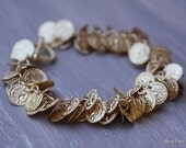 Coin Bracelet, Gold, Lightweight, Coin Jewelry