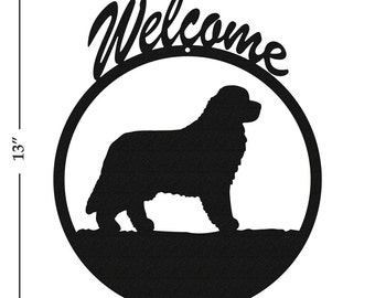 Dog Newfoundland Black Metal Welcome Sign