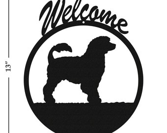 Dog Portuguese Water Dog Black Metal Welcome Sign