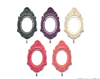 Parisian Pearl Collection Shimmer Glitz Set of 2 Victorian Open Back Vintage Style Frame for Cameo 30mm x 40mm Pink White Black Purple