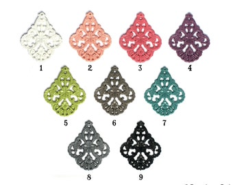9 Color Choices Set of 2 German Style Filigree Floral Pendant Resin for Earrings or Necklace 58mm x 48mm