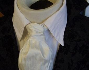 FORMAL Victorian Ascot Tie Cravat - Ivory White Dupioni SILK