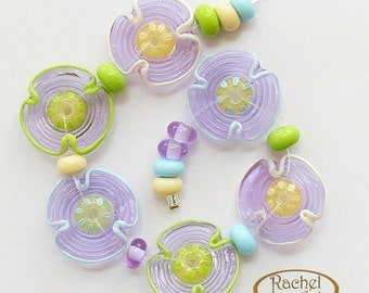 Lavender Glass Beads, FREE SHIPPING, Set of Hndemade Lampwork Flowers and Spacers - Rachelcartglass
